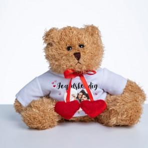 Bamse med personlig foto tshirt og hjerter