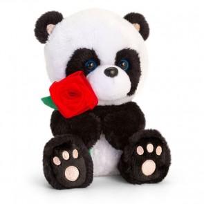Panda teddybjørn med rød rose